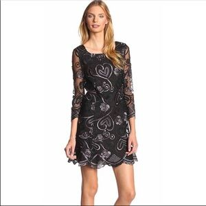 Anna Sui Dress black Lace Floral Embroidered